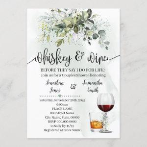 Whiskey and wine couples shower Eucalyptus Invitation starting at 2.55