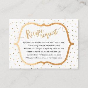 Whit Gold Confetti Bridal Shower Recipe Request Enclosure Card starting at 0.35