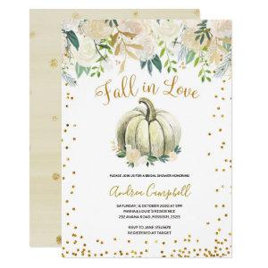 White and Gold Fall in Love Bridal Shower Invite starting at 2.55