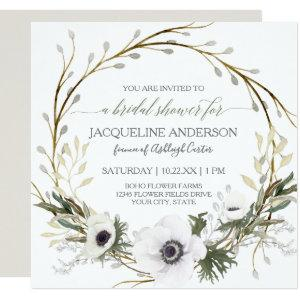 White Anemone Twig Fern Eucalyptus Bridal Shower Invitation starting at 2.51