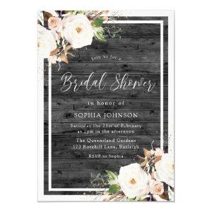 White & Blush Floral Rustic Charcoal Bridal Shower Invitation starting at 2.40