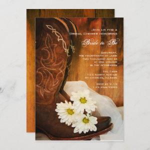 White Daisies Cowboy Boots Western Bridal Shower Invitation starting at 2.60