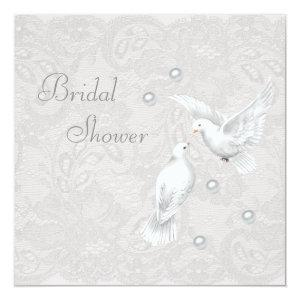 White Doves & Pearls Paisley Lace Bridal Shower Invitation starting at 2.51