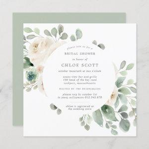 White Floral Botanical Square Bridal Shower Invitation starting at 2.35