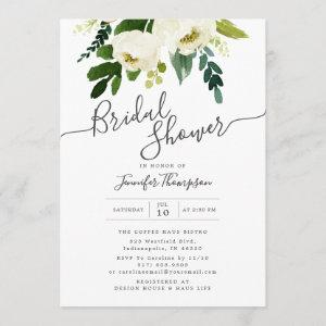 White Floral & Greenery Watercolor Bridal Shower Invitation starting at 2.66