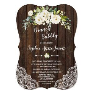 White Floral Wood Brunch and Bubbly Bridal Shower Invitation starting at 2.50