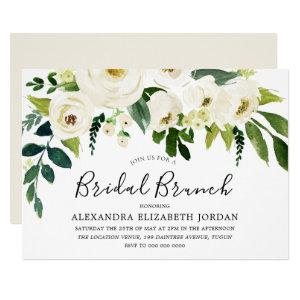 White Flowers & Cream Elegant Bridal Shower Brunch Invitation starting at 2.25