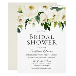 White Flowers & Cream Elegant Bridal Shower Invitation starting at 2.40