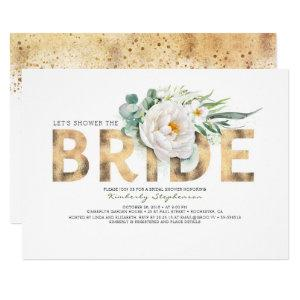 White Flowers Gold and Greenery Chic Bridal Shower Invitation starting at 2.40