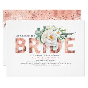White Flowers Rose Gold and Greenery Bridal Shower Invitation starting at 2.40