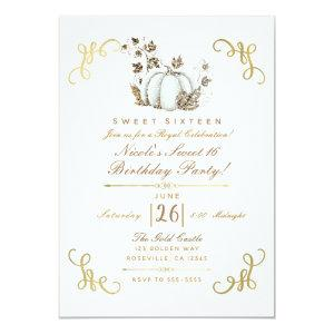 White & Gold Glitter Pumpkin Sweet 16 Party Invitation starting at 2.66