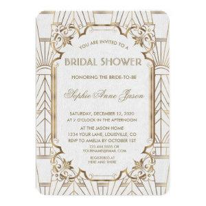 White Gold Great Gatsby Art Deco Bridal Shower Invitation starting at 2.40
