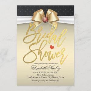 White & Gold Ribbon with Red Diamond Bridal Shower Invitation starting at 2.40