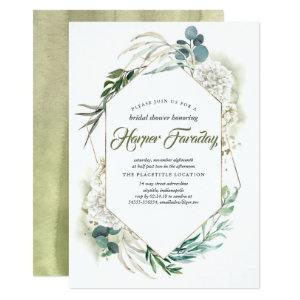 White Hydrangea and Greenery Modern Bridal Shower Invitation starting at 2.51