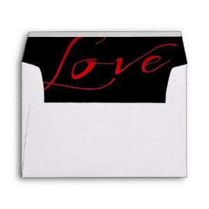 White Invitation Envelope with Red Love Liner starting at 0.85