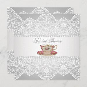 white lace Bridal Shower Tea Party Invitation starting at 2.67