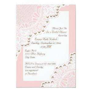 White lace with pearls pink wedding bridal shower invitation starting at 2.66