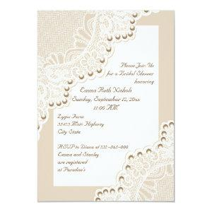 White lace with pearls wedding bridal shower invitation starting at 2.66