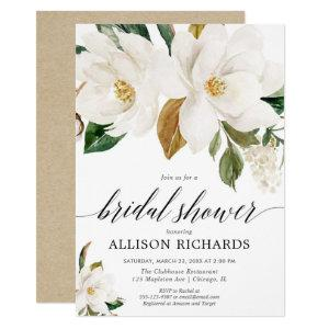 White magnolia floral rustic bridal shower invitation starting at 2.25