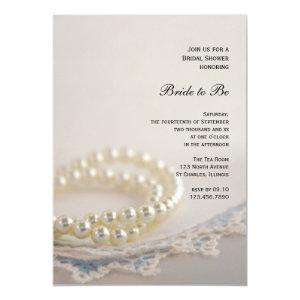 White Pearls and Blue Vintage Lace Bridal Shower Invitation starting at 2.60
