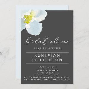 White Poppy & Charcoal Watercolor Bridal Shower Invitation starting at 2.40