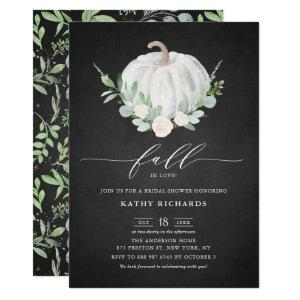 White Pumpkin Rustic Chalkboard Fall Bridal Shower Invitation starting at 2.90