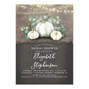 White Pumpkins Rustic Country Fall Bridal Shower Invitation starting at 2.51