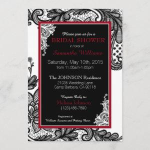White Red and Black Lace Bridal Shower Invitation starting at 2.82