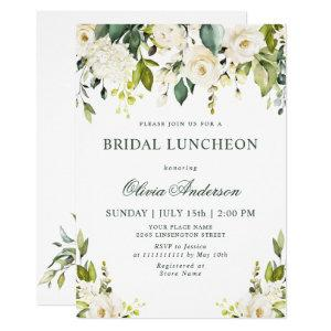 White Roses Floral  Watercolor BRIDAL LUNCHEON Invitation starting at 2.35
