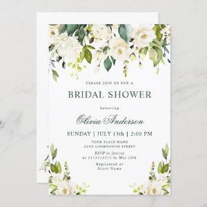 White Roses Floral  Watercolor BRIDAL SHOWER Invitation starting at 2.35