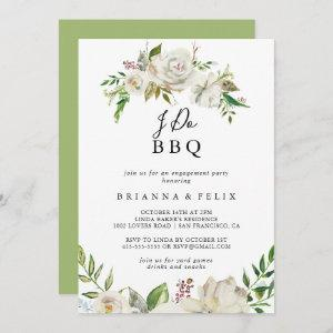 White Winter Peony I Do BBQ Engagement Party Invitation starting at 2.51
