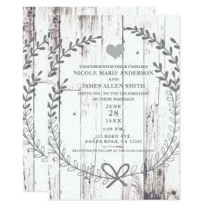 White Wood Rustic Farmhouse Country Wedding Invitation starting at 2.66
