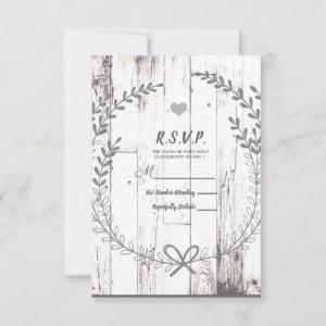 White Wood Rustic Farmhouse Country Wedding RSVP starting at 2.16