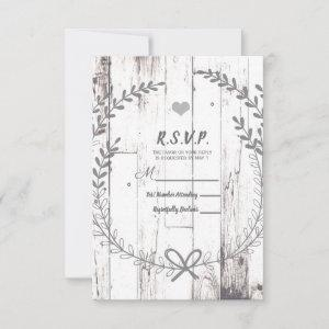 White Wood Rustic Farmhouse Country Wedding RSVP starting at 2.22