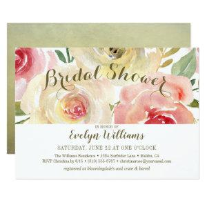 Wild Rose Watercolor Floral Bouquet Bridal Shower Invitation starting at 2.31