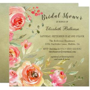 Wild Rose Watercolor Floral Bridal Shower Square Invitation starting at 2.51