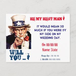 will you be my best man,groomsman invitation postcard starting at 1.80
