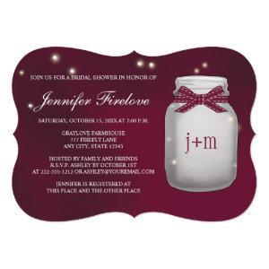 Wine Monogrammed Firefly Mason Jar Bridal Shower Invitation starting at 2.91