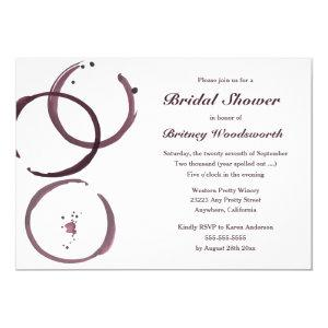 Wine Stain Vineyard Bridal Shower Invitations starting at 2.65