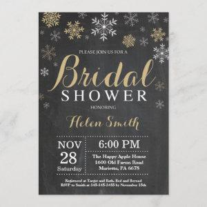 Winter Bridal Shower Gold and White Snowflake Invitation starting at 2.35