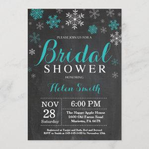 Winter Bridal Shower Teal and White Snowflake Invitation starting at 2.35