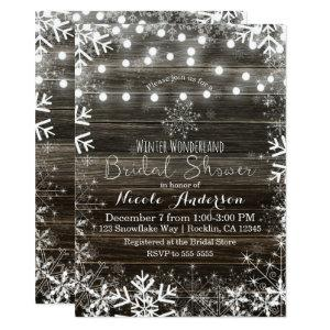 Winter Lights & Snowflakes Rustic Bridal Shower Invitation starting at 2.26