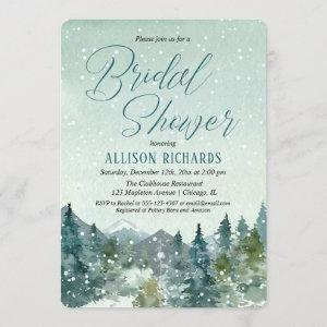 Winter snow fall mountains rustic bridal shower invitation starting at 2.75