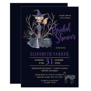 Witch black cats Halloween bridal shower party Invitation starting at 2.15