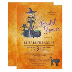 Witch watercolor Halloween bridal shower party Invitation starting at 2.15
