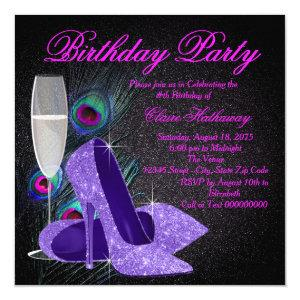 Womans Purple Peacock Birthday Party Invitation starting at 2.40