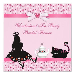 Wonderland Tea Party Pink Flamingos Bridal Shower Invitation starting at 2.51