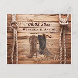 wood Cowboy Boots Western country save the date Announcement Postcard starting at 2.02