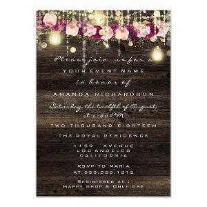 Wood Rustic Gold Lights Jar Bridal Wedding Invitation starting at 2.10