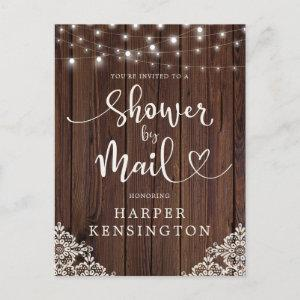 Wood String Lights Lace Bridal Shower by Mail Invitation Postcard starting at 1.70